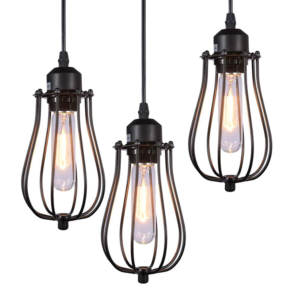 AMUMO 2019 Pendant Light Ceiling Mounted Chandelier Fixture Mini Pendant Lights, Kitchen Lighting Hanging Light Modern Industrial Edison Vintage Style (3 Pack Black)