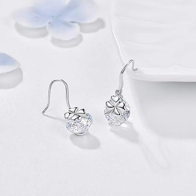 Sterling Silver Clover Drop Earrings Cubic Zirconia Earrings Cz Diamond Drop Earrings