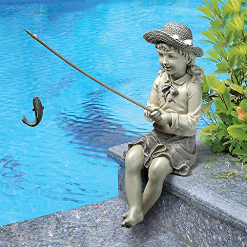 Design Toscano Big Catch Fisherwoman Girl Fishing Garden Statue, 11 Inch, Polyresin, Two Tone Stone