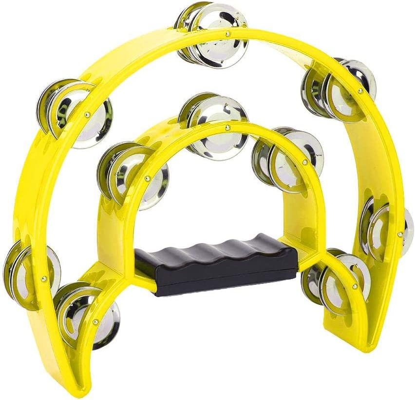Hand Tambourine Double Row Metal Jingles Hand Held Percussion Instrument for Gift KTV Party Kids Toy with Ergonomic Handle Grip Half Moon Tambourine