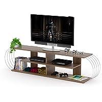 Home Canvas Case TV Unit Modern Living Room Made In Turkey(Walnut-Chrome)