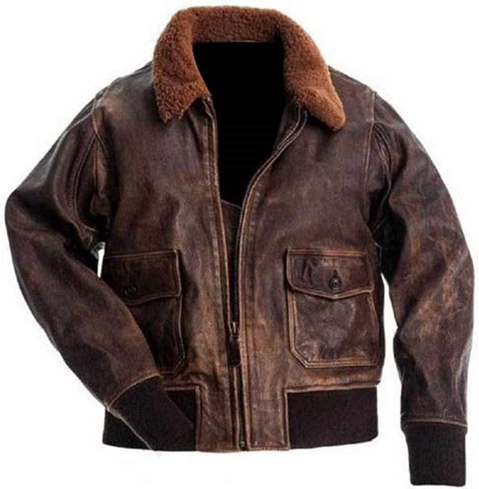 60s 70s Men's Jackets & Sweaters A2 Navy Flight Men Distressed Brown Genuine Leather Aviator Bomber Jacket $139.00 AT vintagedancer.com