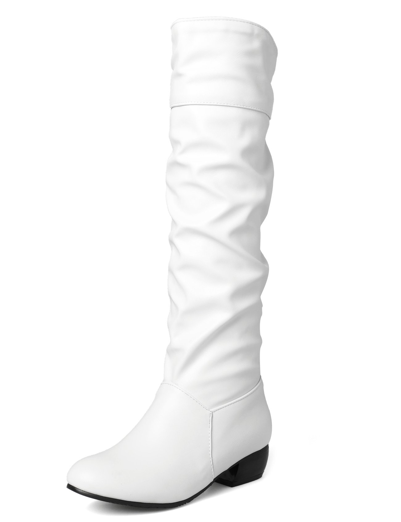 Sungtin Women's White Faux Leather Knee High Flat Slouch Boots 9 M US