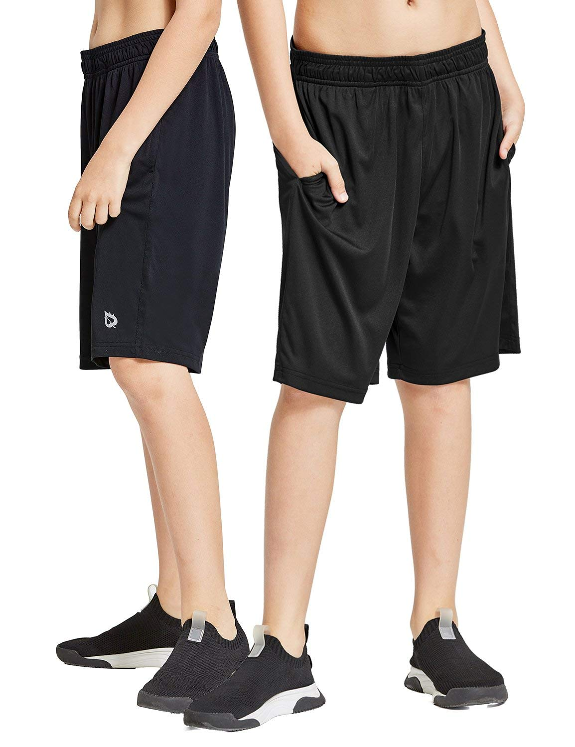 Baleaf Youth Boys' Athletic Running Shorts Pockets Tennis Volleyball Shorts Pack of 2 Black/Black Size S by Baleaf