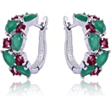 Yazilind Rhodium Plated Green Red Round Pear Cut Flawless CZ Claw Small Hoop Earrings