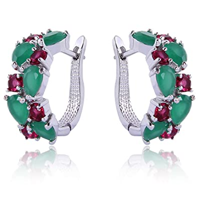 Yazilind Rhodium Plated Green Red Round Pear Cut Flawless CZ Claw Small Hoop Earrings Jmawg