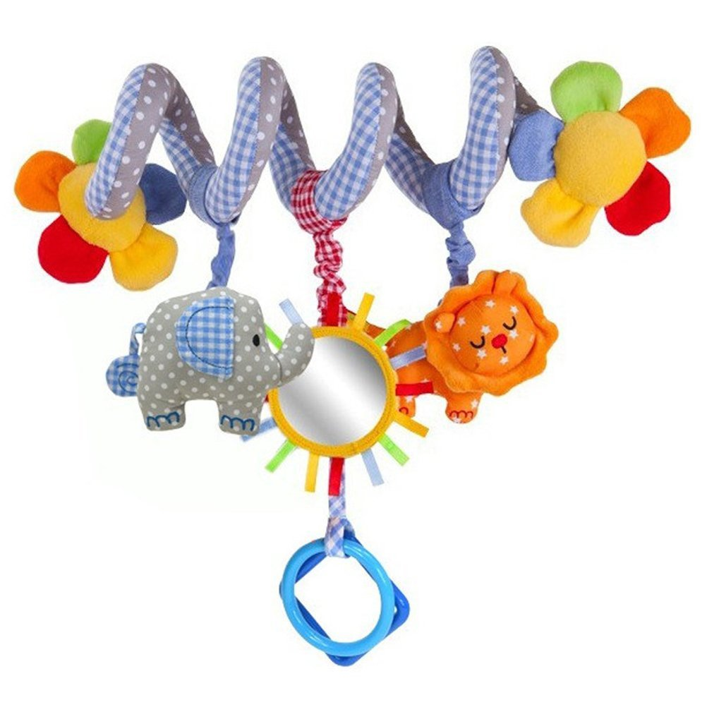 NUOLUX Baby Music Bed Cribs Hanging Decorations Spiral Toy with Mirror and Bell