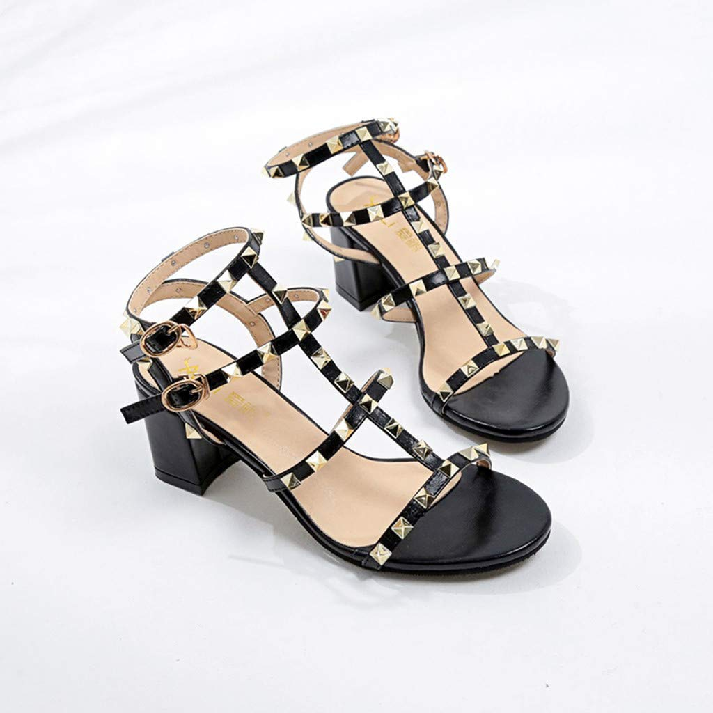 Womens Sandals Bummyo/ Womens Fashion Buckle Strap Rivet High Heel Party Shoes Square Heels SandalsBreathable Slippers Beach Shoes Sandals Shoes Summer Shoes Casual Shoes
