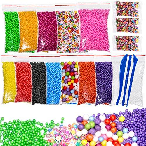 Foam Balls for DIY Slime, HBlife 18 Packs Colorful Styrofoam Foam Balls for Slime 0.08-0.35 Inch with Slime Tools and Fruit Slice for Slime Making Art DIY Craft