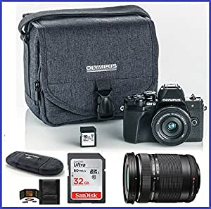 Olympus OM-D E-M10 Mark III (Mark 3) Mirrorless Digital Camera with 14-42mm EZ Lens + M.Zuiko Digital ED 40-150mm f/4.0-5.6 R Lens (Black) + 48GB SDHC Memory Cards + Olympus Camera Case