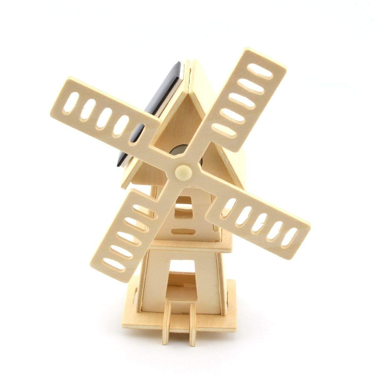 Original Hobby Wood Craft 3D Puzzle Solar Powered Windmill
