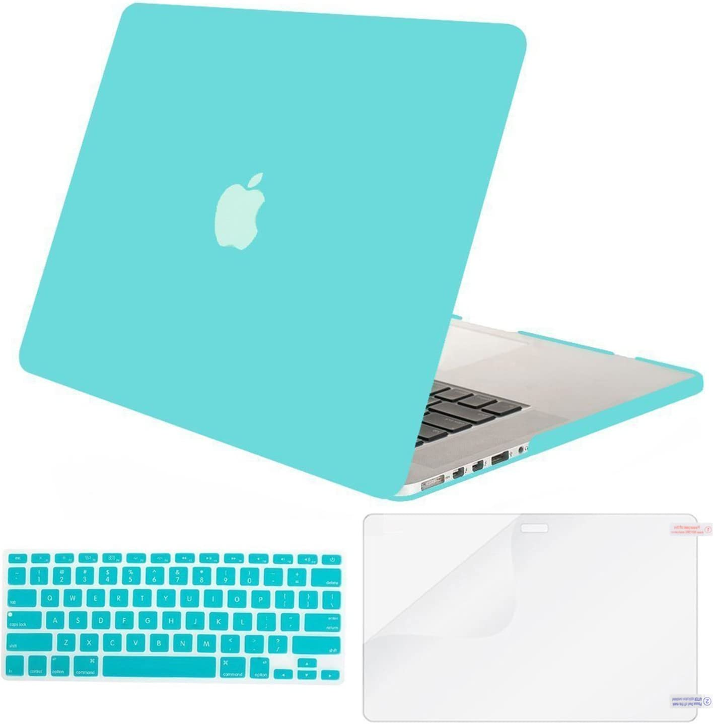 MOSISO Case Only Compatible with Older Version MacBook Pro Retina 13 inch (Models: A1502 & A1425) (Release 2015 - end 2012), Plastic Hard Shell Case & Keyboard Cover & Screen Protector, Turquoise