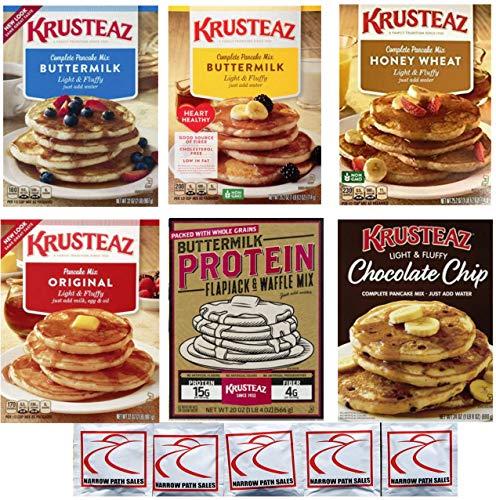 Krusteaz Pancake Mix: Variety Pack: Buttermilk; Honey Wheat; Chocolate Chip; Heart Healthy Buttermilk; Original, Flap Jack and Waffle mix (Bundle of 6) Food Gift Box