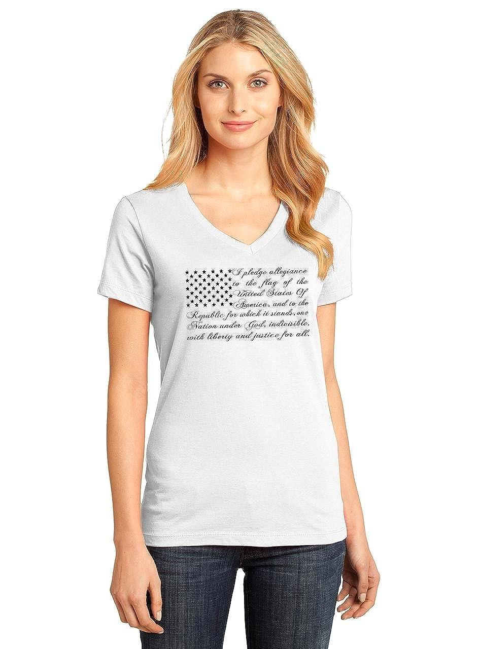 7cc3b323b9252 Amazon.com  Comical Shirt Ladies Pledge of Allegiance American Flag V-Neck  Tee  Clothing