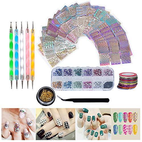 - Hakkin 62 Pcs DIY Nail Art Tools Decoration Kit, Set Include: 12 Colors Nail Rhinestones, 30 Pcs Tape Line, 24 Pcs Vinyls Nail Stencil Sticker Sheets Set & 5 Pcs Rhinestones Decorations Dotting Tool