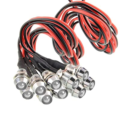 """Amotor 10Pcs 8mm 5/16"""" LED Metal Indicator Light 12V Waterproof Signal Pilot Lamp Dash Directional Car Truck Boat with Wire (White): Automotive"""