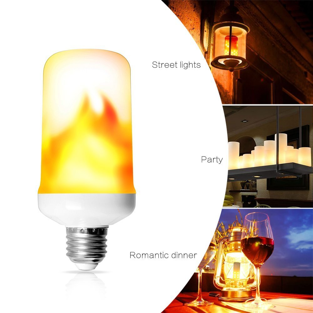 Flame Effect Fire Light Bulbs, E26/ E27 LED Flickering Flame Light Bulbs for Hotel/Bars/ Home Decoration/Restaurants (Fire up)