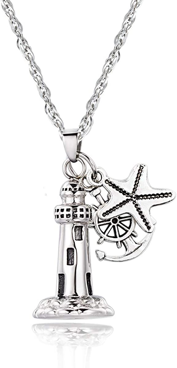 Gredstar Lighthouse Urn Necklace for Ashes Memorial Keepsake Pendant with Starfish Charms Anchor Compass Cremation Jewelry