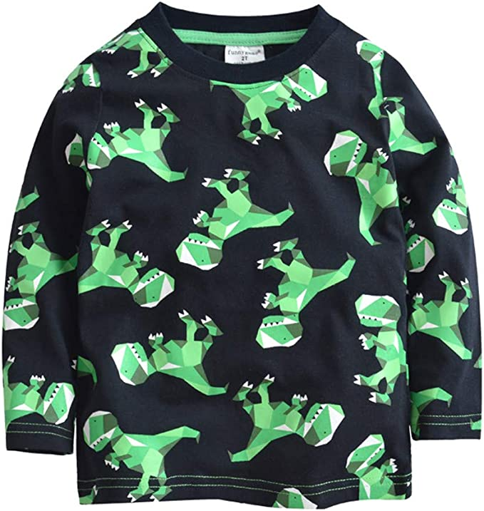 Little Hand Boys T-Shirt Short Sleeve Dinosaur Print Cotton Tops Tees Outfits for Age 1-7 Years