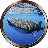12'' Porthole Ship Window Ocean Sea View WHALE SHARK #1 PEWTER ROUND Wall Decal Kids Sticker Baby Room Home Art Décor Graphic SMALL