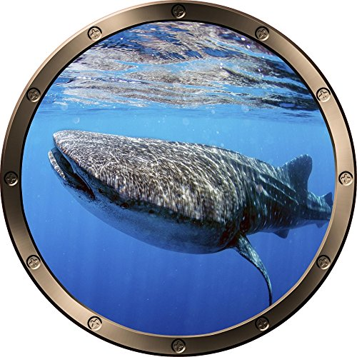 12  Porthole Ship Window Ocean Sea View Whale Shark  1 Pewter Round Wall Decal Kids Sticker Baby Room Home Art D Cor Graphic Small