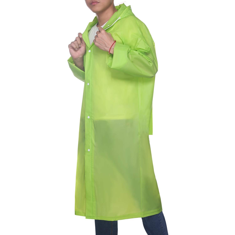 UNIQUEBELLA EVA Raincoat Waterproof Rain Poncho Reusable Unisex Men Women Long Rain Cape (Z-Green-Backpack, L) by UNIQUEBELLA