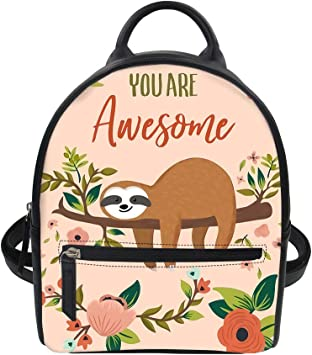 Cute Sloth Backpack PU Leather School Shoulder Bag Rucksack for Women Girls Ladies Backpack Travel Bag