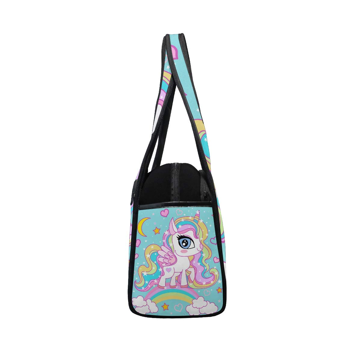Gym Bag Sports Holdall Unicorn Rainbow Canvas Shoulder Bag Overnight Travel Bag for Men and Women