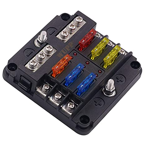 WUPP ST Blade Fuse Block with LED Warning Indicator Damp-Proof Cover Dc Fuse Box on