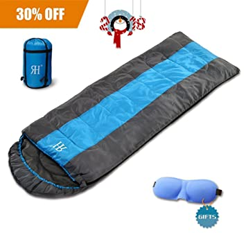 3 Season Camping Sleeping Bag With Compression SackLightweight Hiking Backpacking For Warm