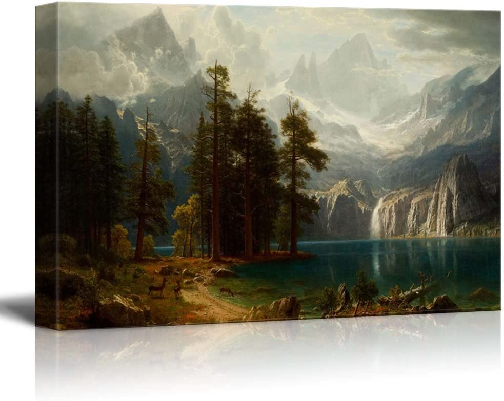 Majestic Expert Craftsmanship, Classic Artwork, Sierra Nevada in California by Albert Bierstadt Stretched Framed