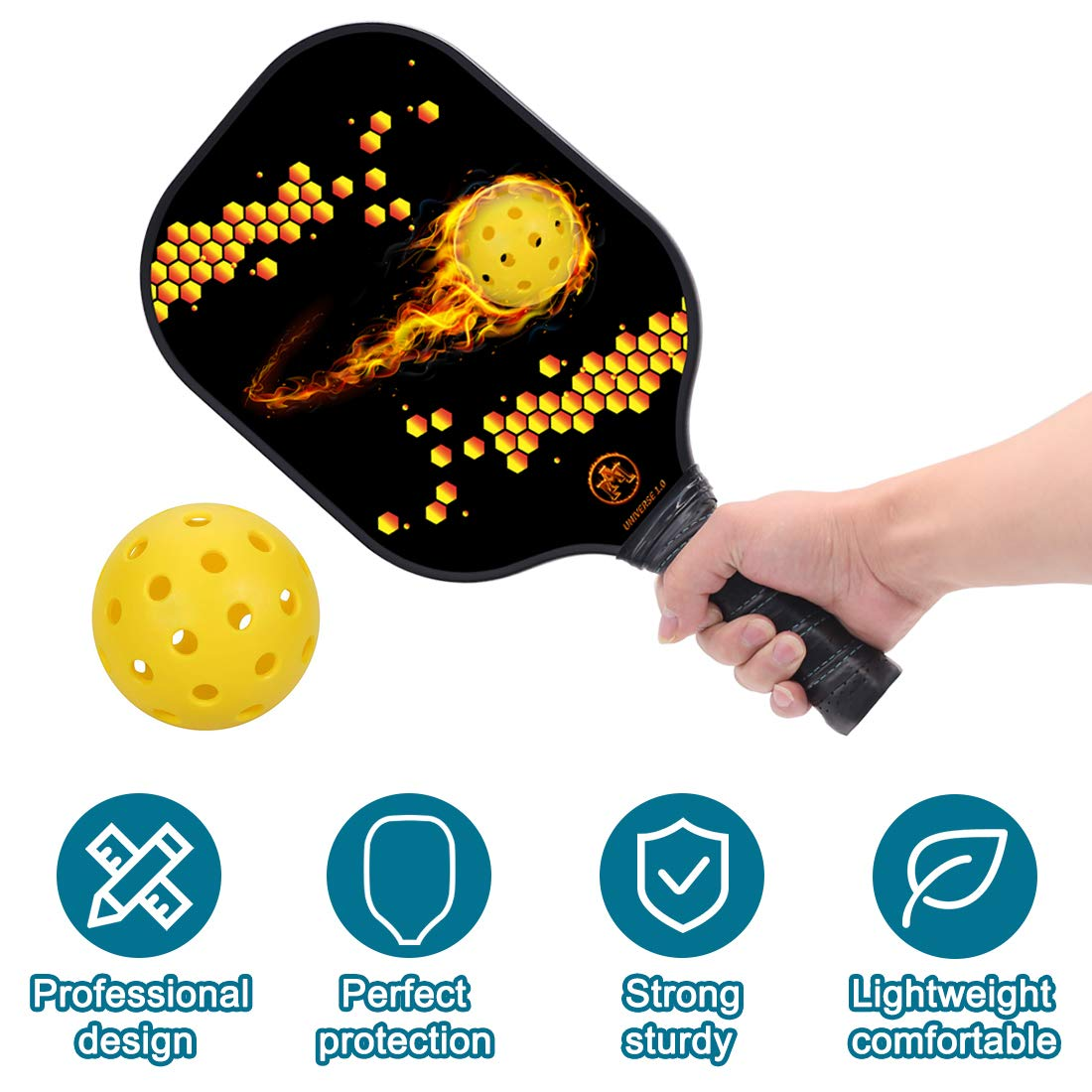 "Y YOOMALL Pickleball Paddle, Graphite Carbon Fiber Surface, Honeycomb Polymer Core, 8oz Midweight 4.25"" Cushion Comfort Grip, Pickleball Racket with ..."