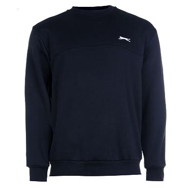 ffc164bcfea Slazenger SL Fleece Crew Sweater Mens Navy Sweatshirt Jumper Top:  Amazon.co.uk: Clothing
