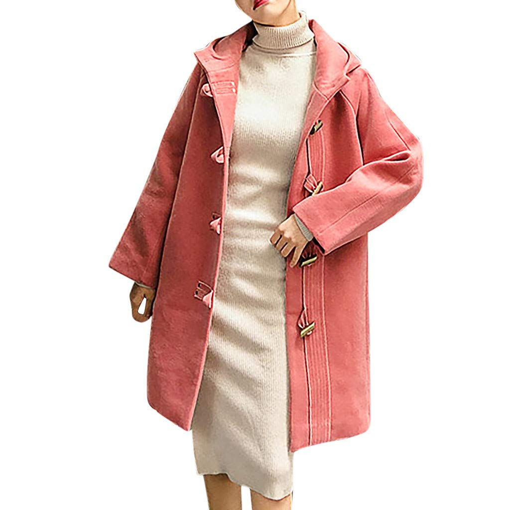 FILOL Fashion Women Outwear Solid Horn Button Thickening Hooded Coat Jacket Overcoat Outwear Hooded Blouse Pink by FILOL apparel
