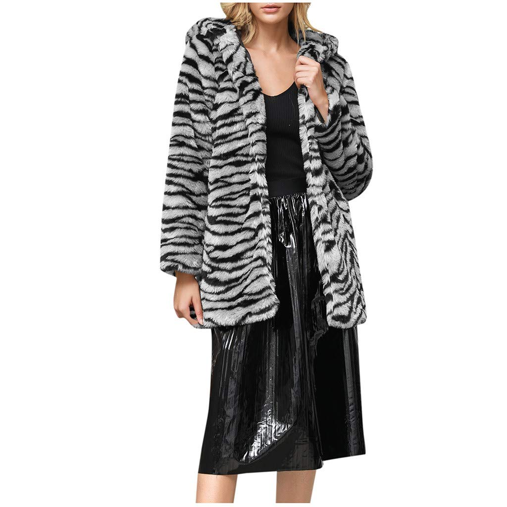Ultramall Women Fur Jacket Fashion Leopard Faux Fur Outwear Cardigan Loose Hooded Coat by Ultramall