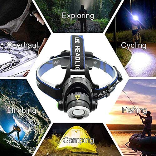 yywl led headlamp Powerful Headlamp Rechargeable Headlight Forehead Torch Light Zoomable Head Lamp For Camping Hunting Fishing