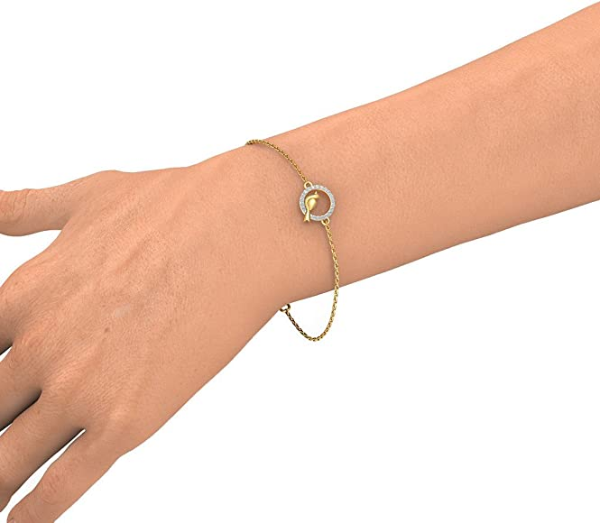 18K Yellow Gold identification-bracelets Size 0.21 cttw Round-Cut-Diamond 9 inches IJ| SI