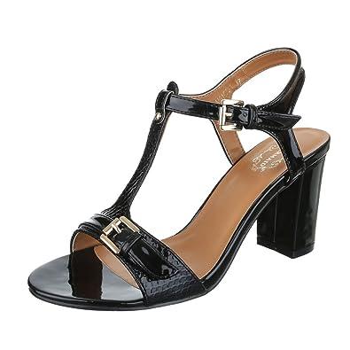 Ital Design High Heel Sandaletten Damen Schuhe Plateau Pump Plateau Schnalle Sandalen/Sandaletten