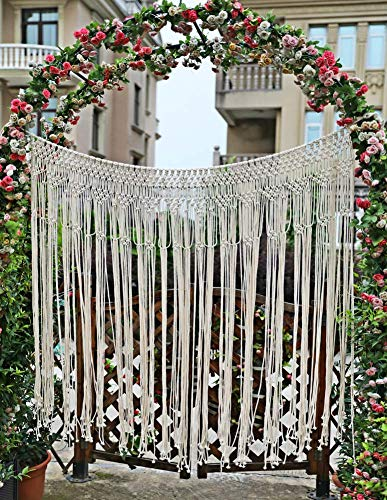 Pantaknot Large Macrame Boho Decor Wall Hanging Curtain Wedding Backdrop Arch Window Covering Headboard, 56