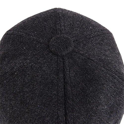 YAKER Men's Winter Warm Woolen Peaked Baseball Cap Hat Earmuffs Metal Buckle (Black) by YAKER (Image #3)