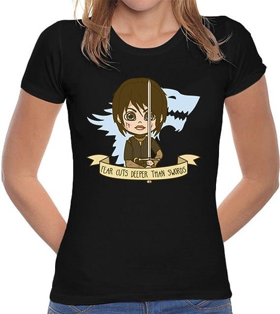 Negro Clásico Arya Latostadora Camiseta Stark Mujer Corte vN0n8mw