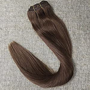 "Full Shine 16"" 9Pcs Dark Brown Clip in Human Hair Extensions 120gram Brazilian Clip on Hair Weave Extensions Clip Remy Hair Great Quality"