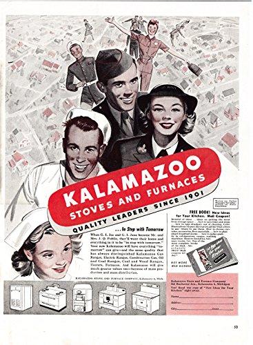 1945 Kalamazoo Stoves+Furnaces-Leaders Since 1901-Original 13.5 * 10.5 Magazine Ad