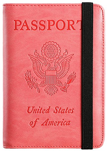 Passport Holder Cover Wallet RFID Blocking Leather Card Case Travel Document Organizer (Light Red)