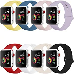 Compatible Band for Apple Watch 38mm 42mm 40mm 44mm, Soft Silicone Sport Strap Replacement Wristband for Apple Watch Series 5 4 3 2 1, Women Men, Small Large (8 Pack)… (38mm/40mm S/M)