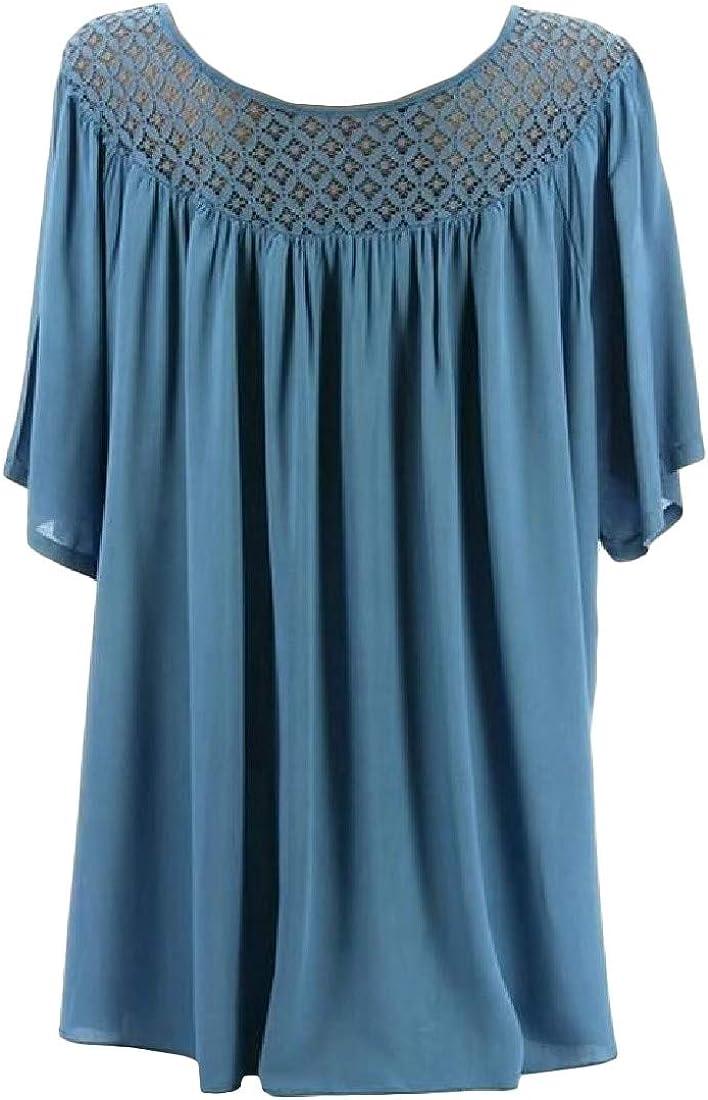 Easonp Womens Plus Size Blouse Short Sleeve Hollow Out T衫上衣 T-Shirts