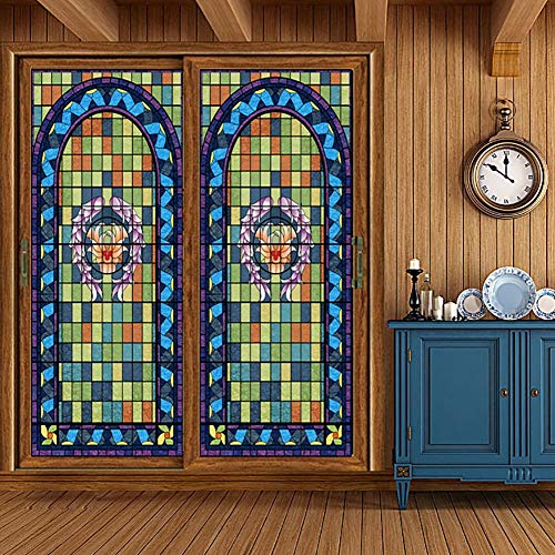 (XXRBB Stained Glass Window Film Opaque Privacy Self Adhesive Glass Window Sticker Decorative,Heat Control Anti UV for Home Bathroom Office,120x900cm(47x354inch))
