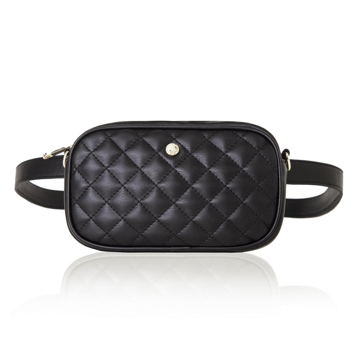 The Lovely Tote Co. Women's 2-way Fanny Pack Small Quilting Crossbody Bag (One size, Black (Diamond))