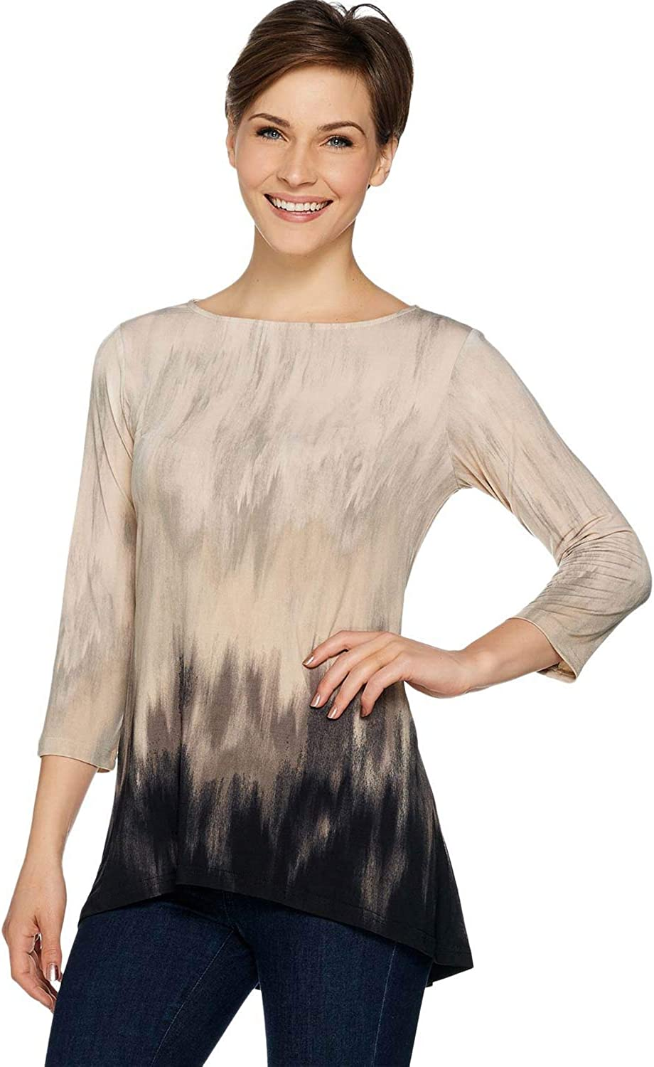 Linea Louis Dell'Olio Womens 3/4 Sleeve Hi-Low Hem Tunic XXS Alabaster A263353