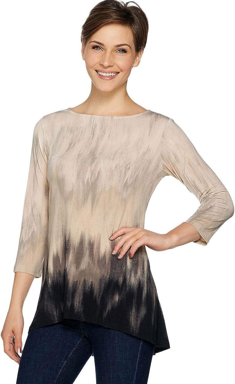 Linea Louis Dell'Olio Womens 3/4 Sleeve Hi-Low Hem Tunic XXS Alabaster A263353